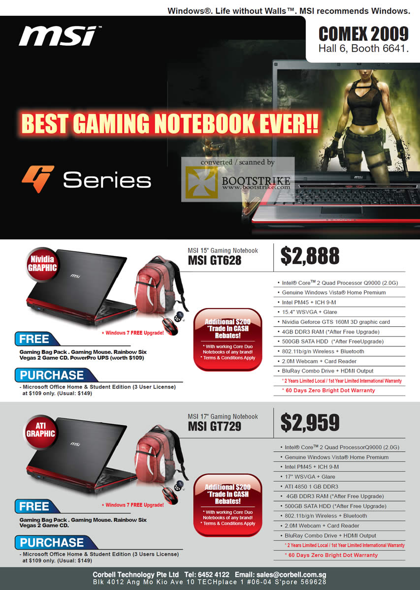 Comex 2009 price list image brochure of MSI Gaming Notebook GT628 GT729