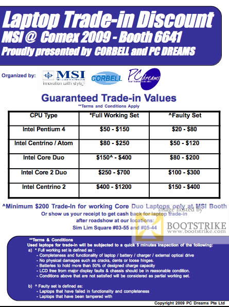 Comex 2009 price list image brochure of MSI Laptop Trade-In Discount PC Dreams