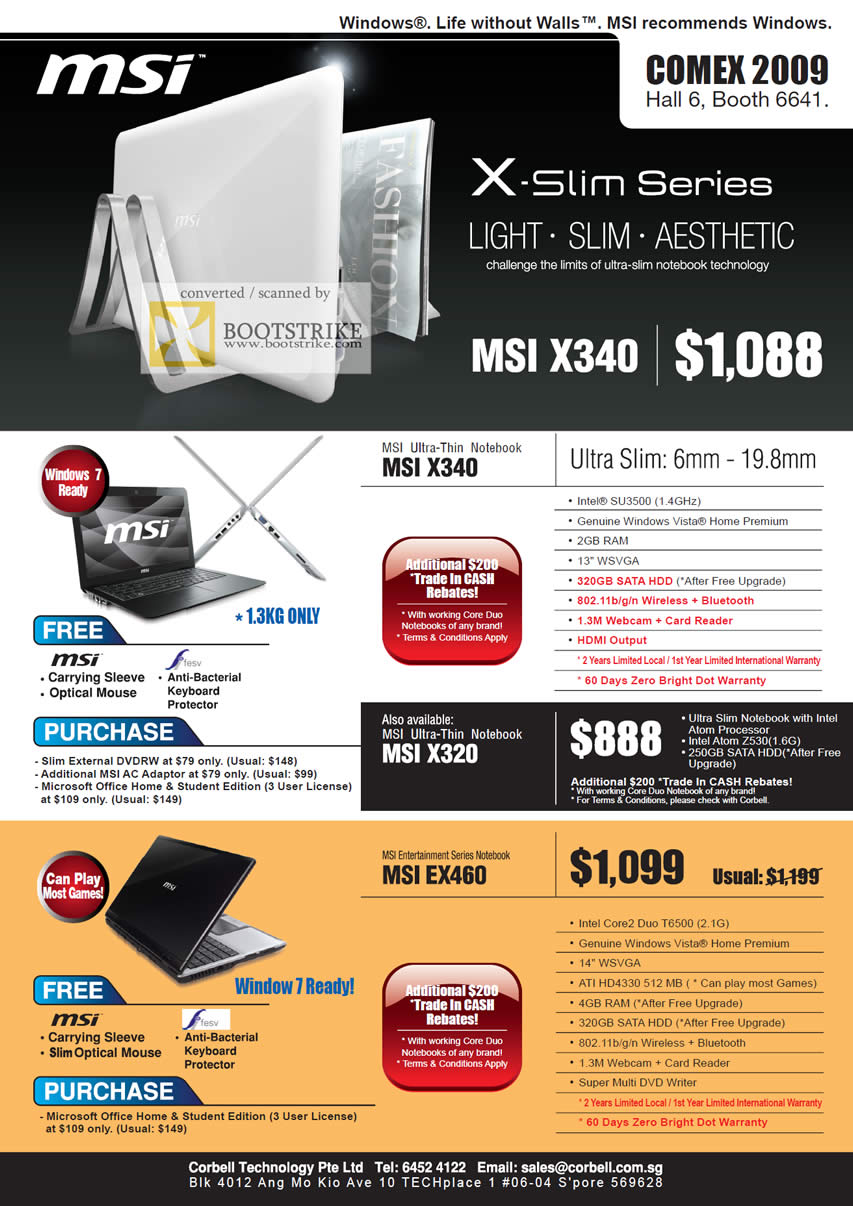 Comex 2009 price list image brochure of MSI Notebook Ultra Thin X340 X320 Entertainment EX460