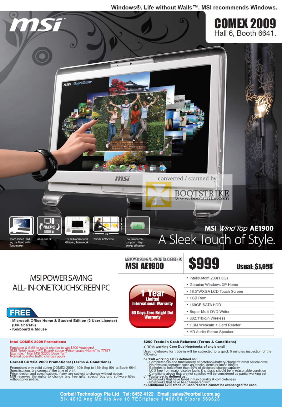 Comex 2009 price list image brochure of MSI Wind All-In-One Touchscreen PC Top AE1900