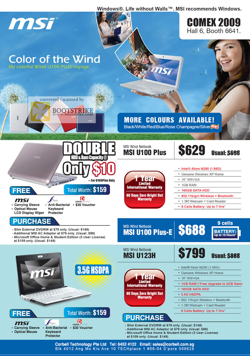 Comex 2009 price list image brochure of MSI Wind Netbook U100 Plus U123H