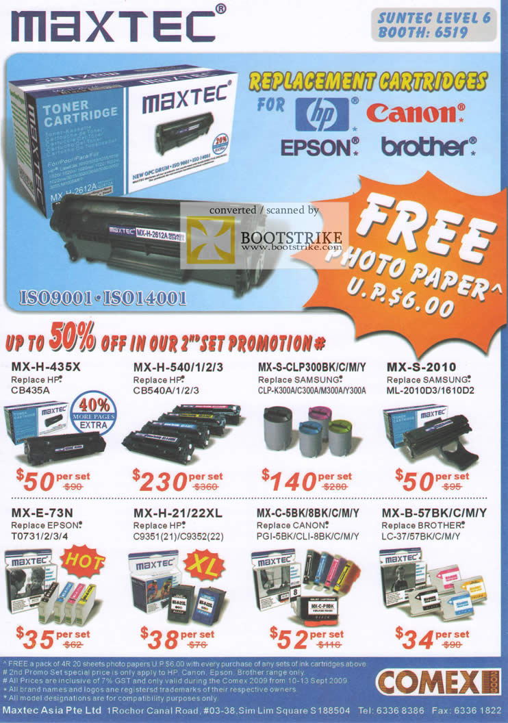 Comex 2009 price list image brochure of Maxtec Replacement Cartridges Hp Canon Epson Brother Toner