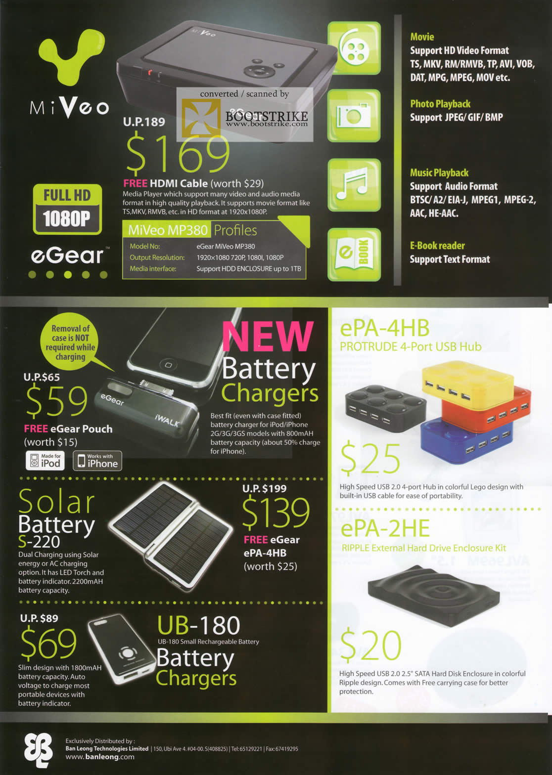 Comex 2009 price list image brochure of MiVeo Media Player MP380 EPA 4HB 2HE Solar Battery Chargers