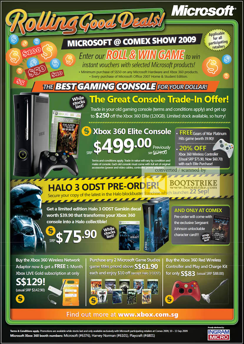 Comex 2009 price list image brochure of Microsoft XBox 360 Elite Trade-In Halo 3 Game Controller Wireless Network