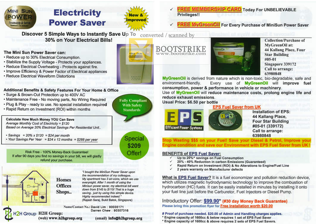 Comex 2009 price list image brochure of Mini Sun Power Saver EPS Fuel Saver MyGreenOil