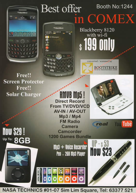 Comex 2009 price list image brochure of Nasa Technics BlackBerry 8120 RMVB MP5 Mp3 Pen