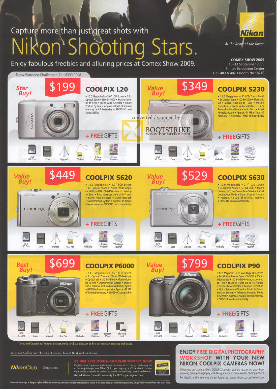 Comex 2009 price list image brochure of Nikon Digital Cameras Coolpix L20 S230 S620 S630 P6000 P90