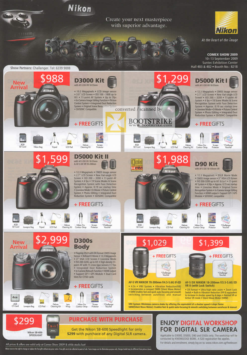 Comex 2009 price list image brochure of Nikon Digital Cameras D3000 D5000 D90 D300