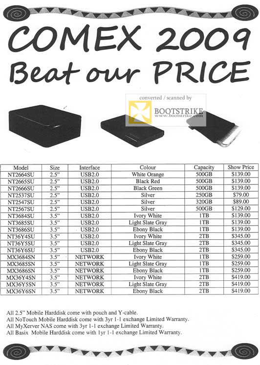 Comex 2009 price list image brochure of No Touch Mobile Harddisk MyXerver NAS Basix External Storage