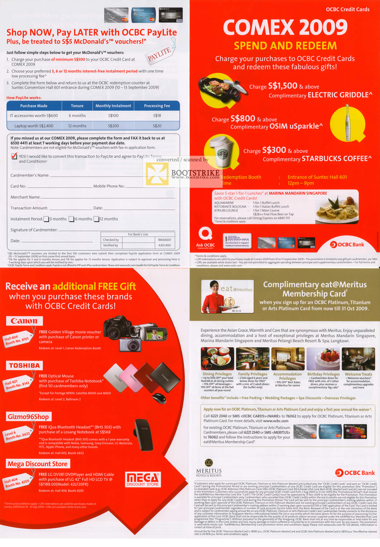 Comex 2009 price list image brochure of OCBC Credit Card Redemption Promotions