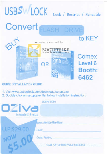 Comex 2009 price list image brochure of OZiva USB SWLock