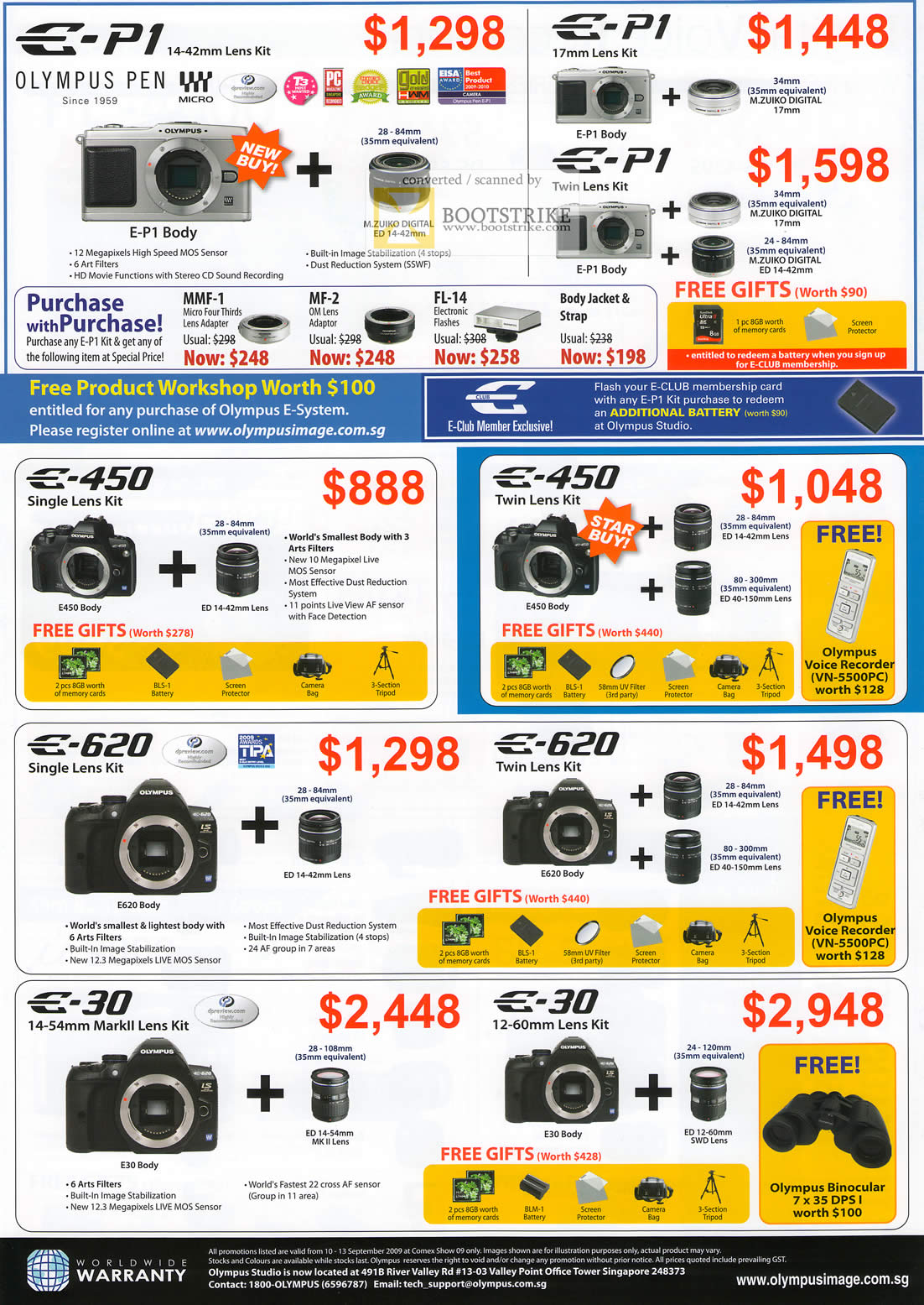 Comex 2009 price list image brochure of Olympus Digital Cameras Pen E-P1 E-450 E-620 E-30