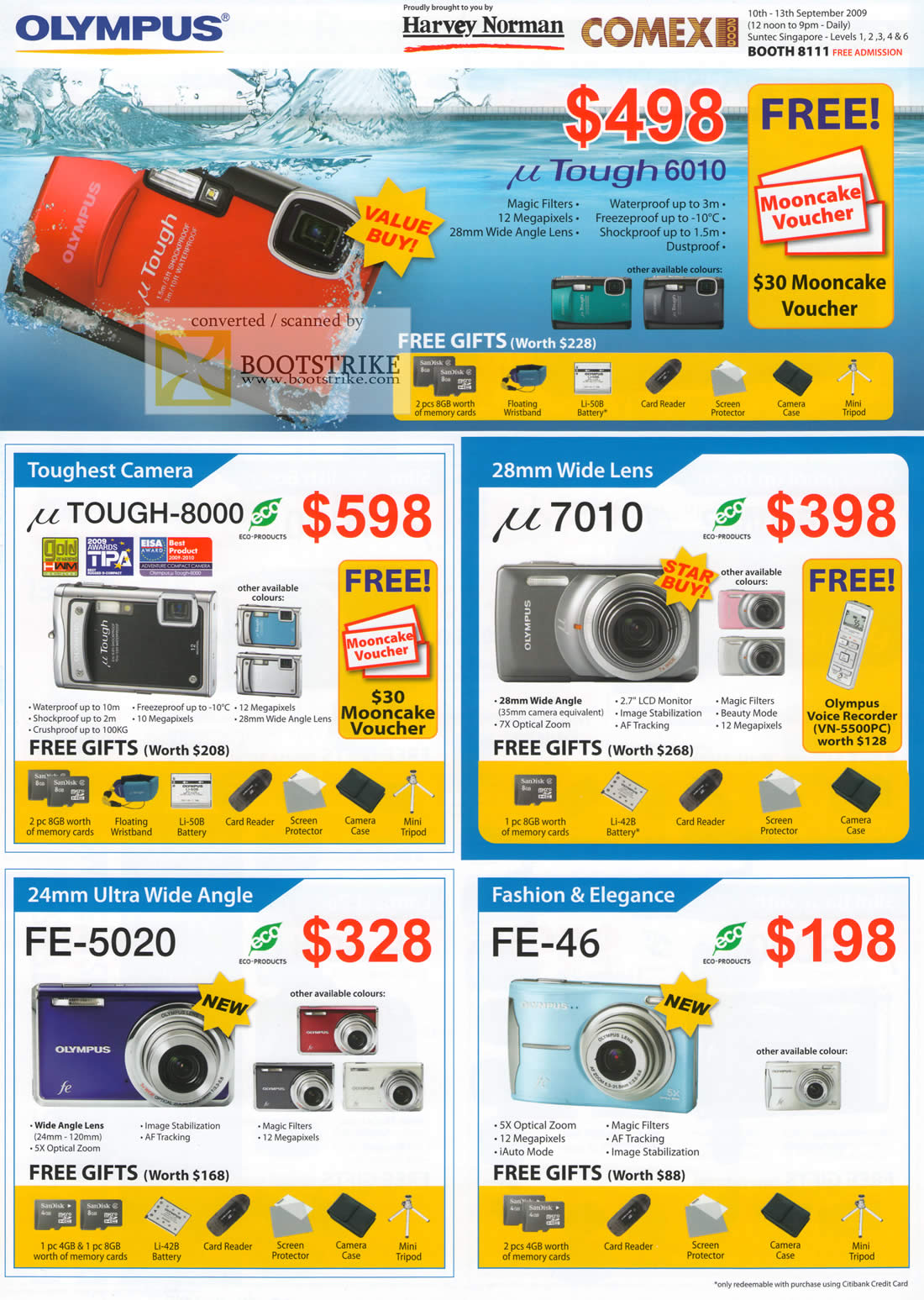 Comex 2009 price list image brochure of Olympus Digital Cameras UTough 6010 8000 7010 FE-5020 FE-46