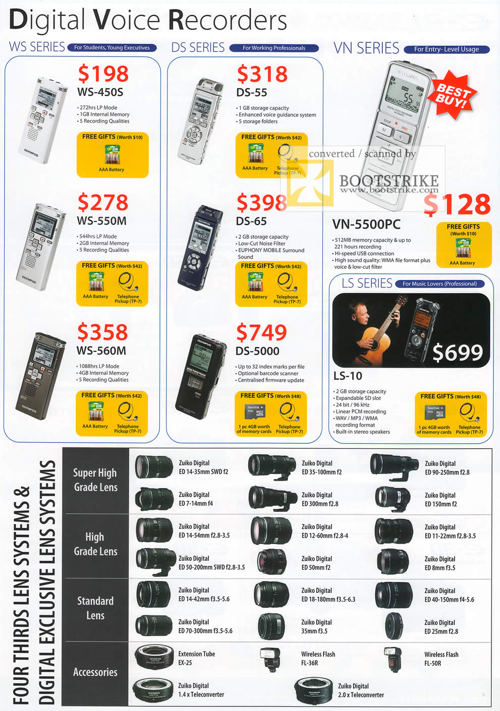 Comex 2009 price list image brochure of Olympus Digital Voice Recorders WS DS VN