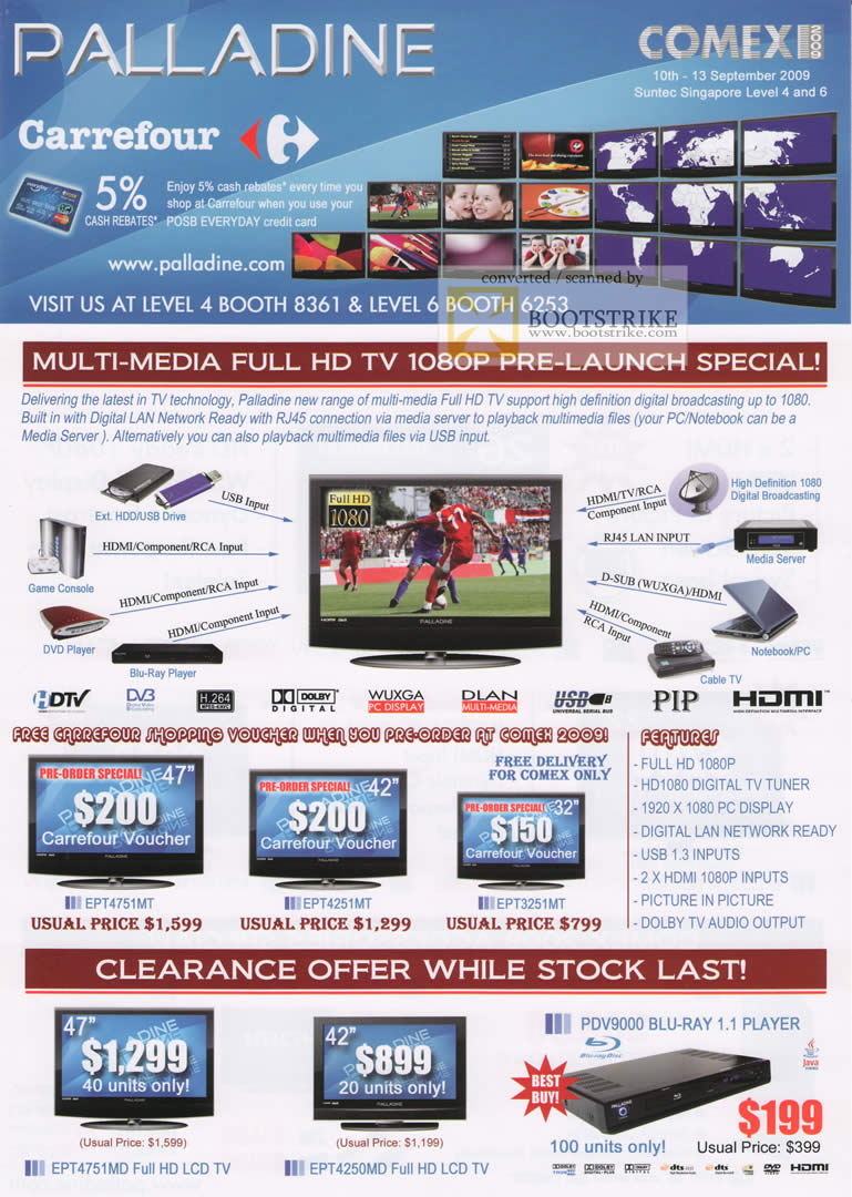 Comex 2009 price list image brochure of Palladine LCD TV Blu Ray Player Carrefour
