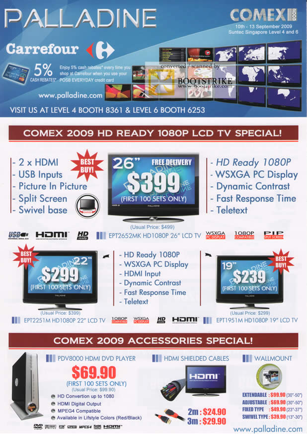 Comex 2009 price list image brochure of Palladine LCD TV HDMI DVD Player Cables Wallmount Carrefour