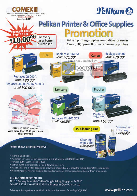 Comex 2009 price list image brochure of Pelikan Printer Canon HP Epson Brother Samsung Toner Ink