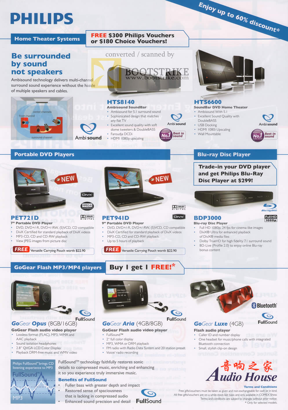Comex 2009 price list image brochure of Philips Home Theater Portable DVD Blu Ray GoGear Flash Mp3 Player