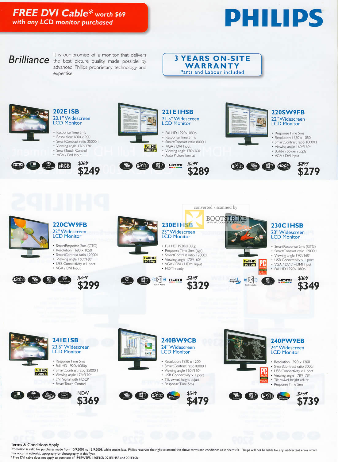 Comex 2009 price list image brochure of Philips LCD Monitors Brilliance