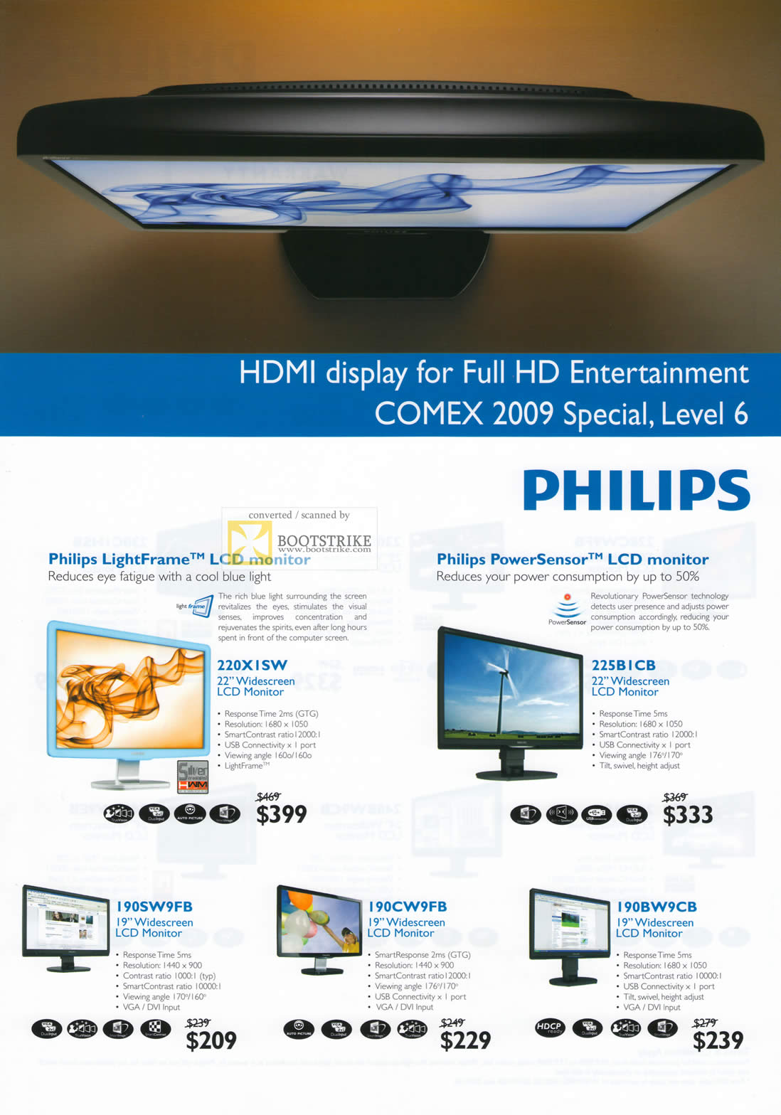 Comex 2009 price list image brochure of Philips LightFrame LCD Monitors PowerSensor