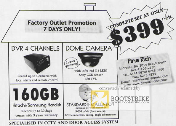 Comex 2009 price list image brochure of Pine Rich CCTV Door Access System DVR Dome Camera Harddisk