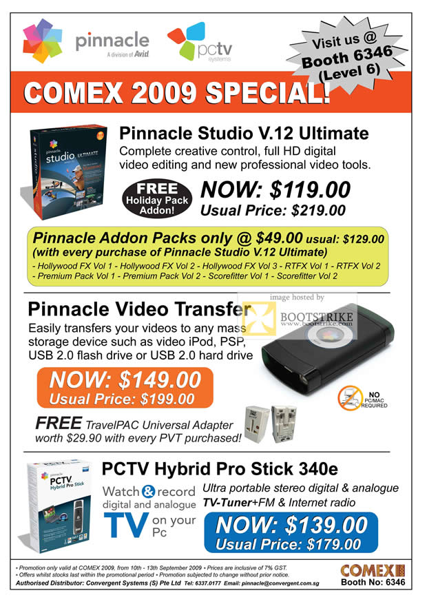 Comex 2009 price list image brochure of Pinnacle Studio V12 Ultimate Video Transfer PCTV Hybrid Pro Stick
