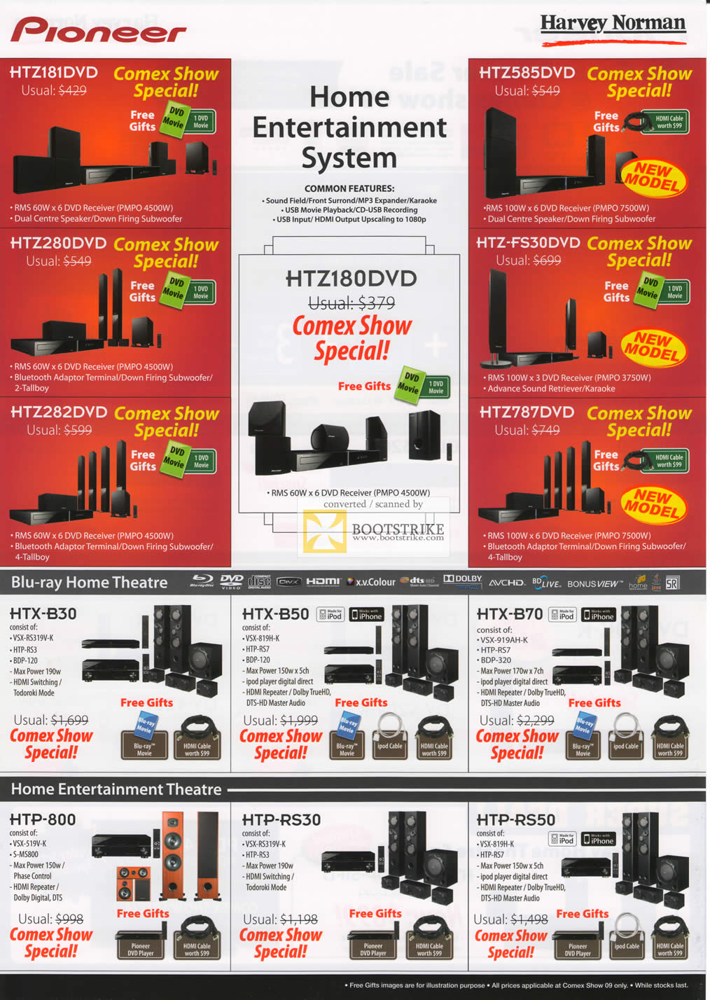 Comex 2009 price list image brochure of Pioneer Home Entertainment System Blu Ray Theatre Harvey Norman