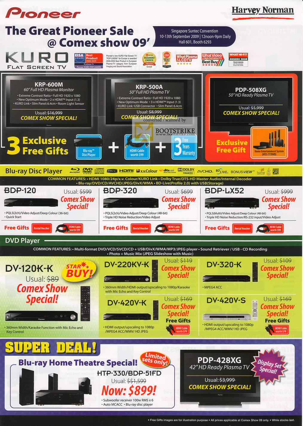 Comex 2009 price list image brochure of Pioneer Kuro Plasma TV Blu Ray DVD Player Home Theatre Harvey Norman