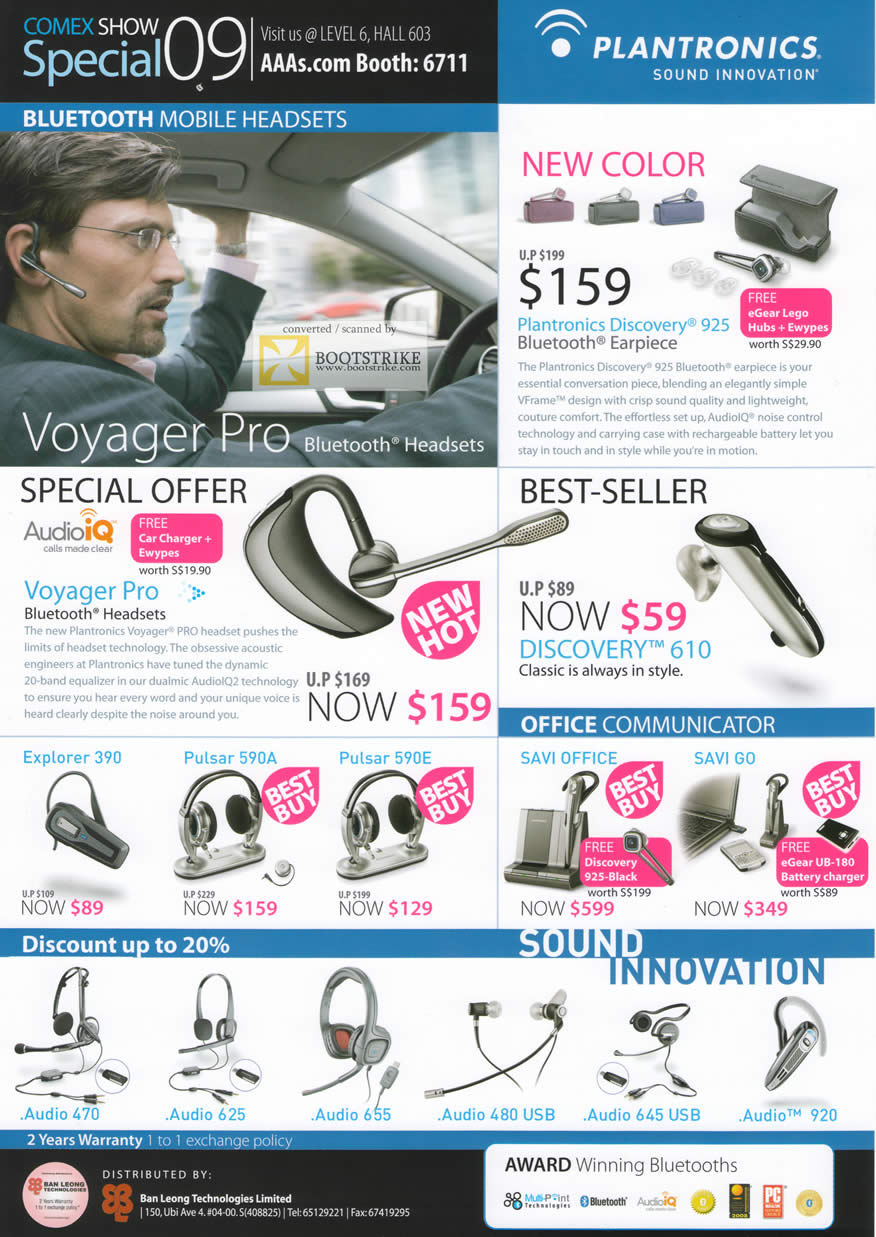 Comex 2009 price list image brochure of Plantronics Bluetooth Mobile Headsets Voyager Pro Explorer Pulsa Audio