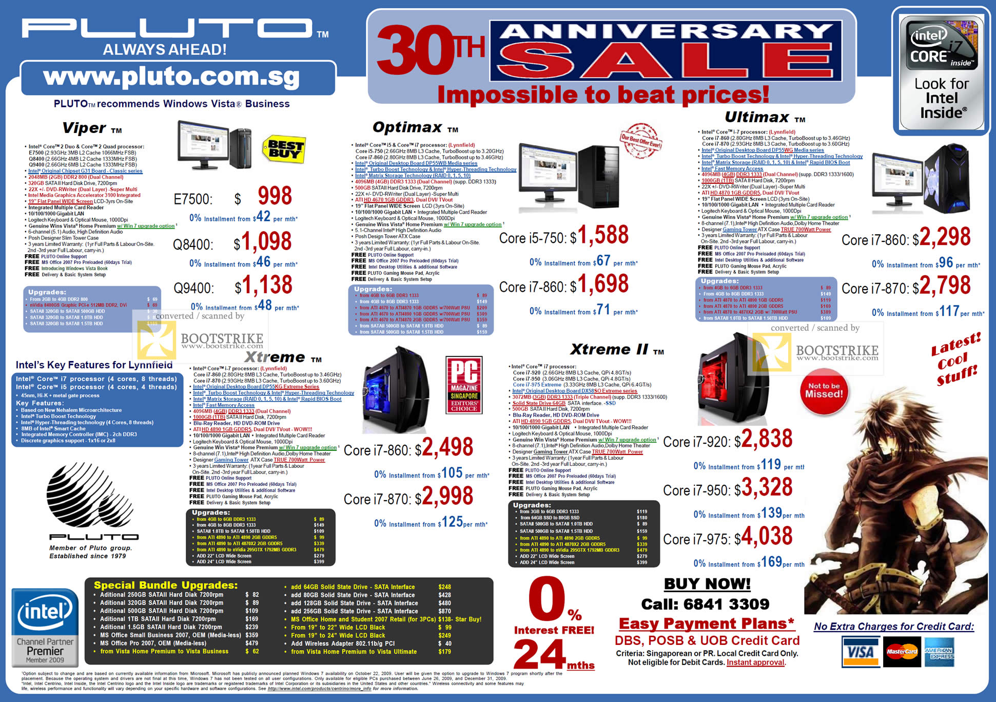 Comex 2009 price list image brochure of Pluto Desktop Gaming Viper Xtreme Optimax Ultimax