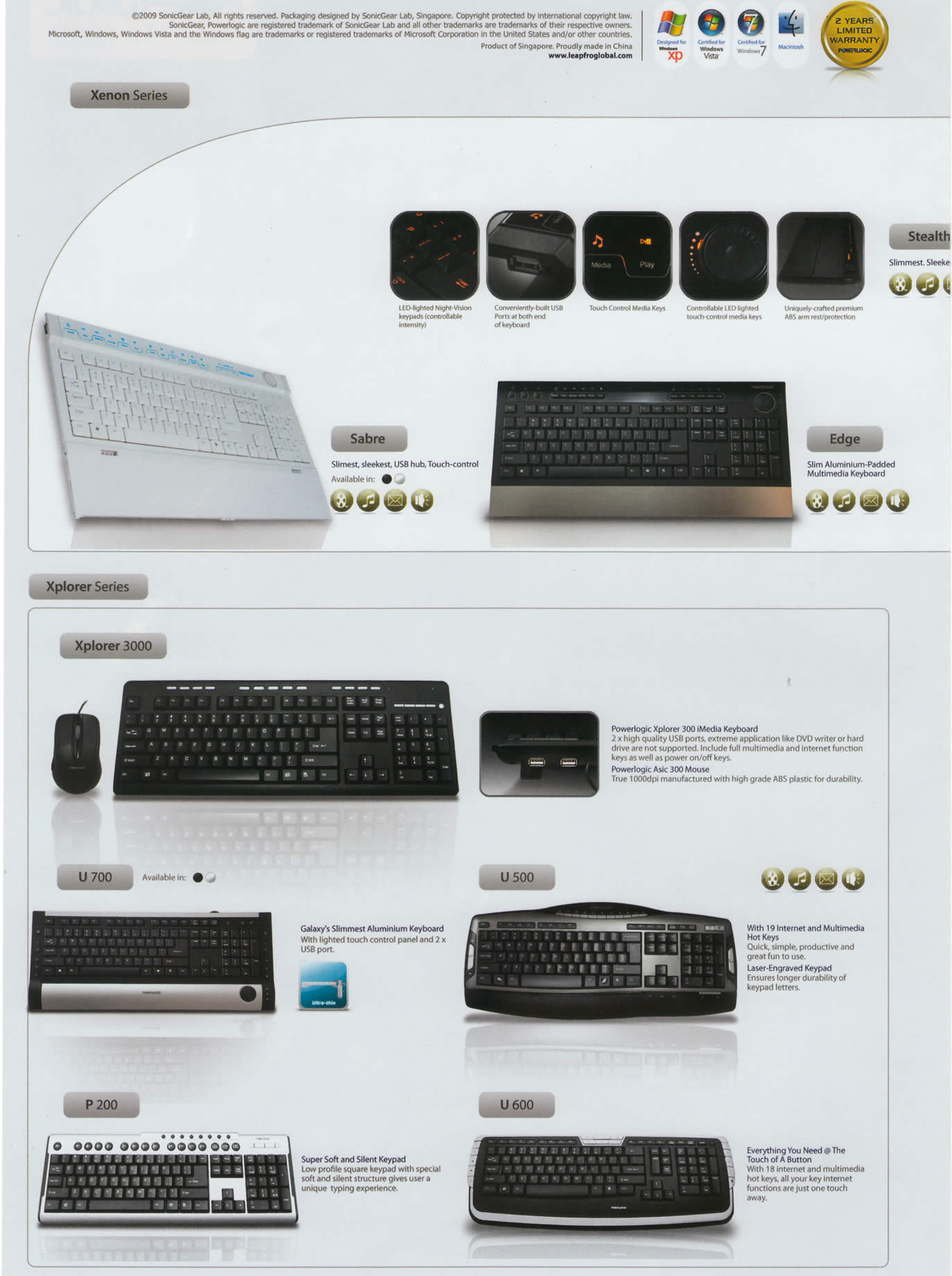 Comex 2009 price list image brochure of Powerlogic Keyboard Xenon Sabre Edge Xplorer