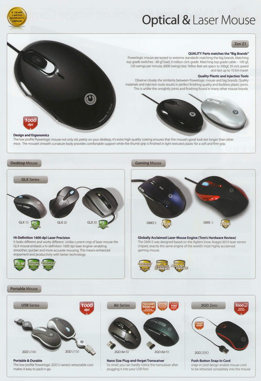 Comex 2009 price list image brochure of Powerlogic Mouse Optical Laser Zen Z1 GLX USB Air 2GO Zero