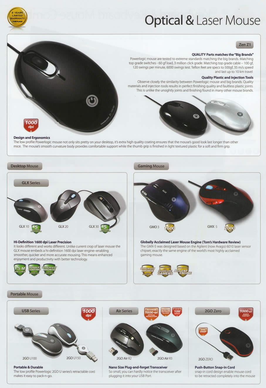 Comex 2009 price list image brochure of Powerlogic Mouse Optical Laser Zen Z1 GLX USB Air 2GO Zero