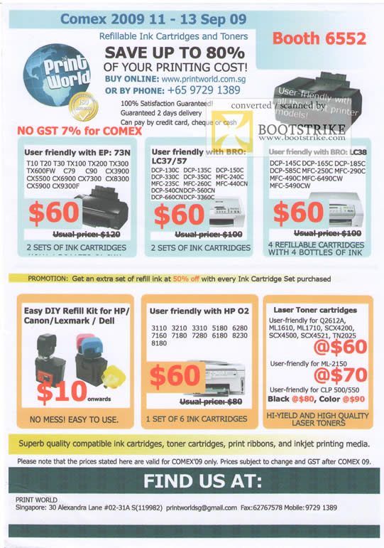 Comex 2009 price list image brochure of Print World Ink Refill Brother HP Lexmark Dell Laser Toner Inkjet