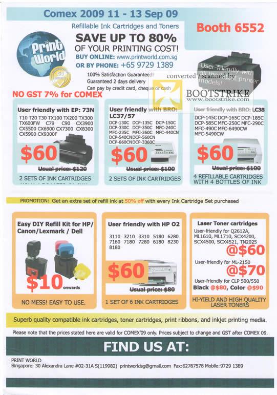 Comex 2009 price list image brochure of Print World Ink Refill Brother HP Lexmark Dell Laser Toner Inkjet