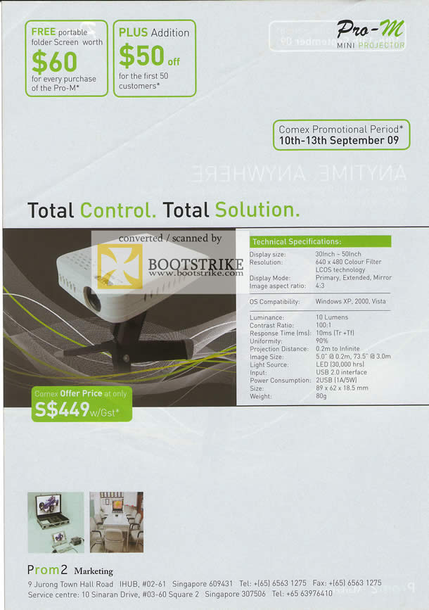 Comex 2009 price list image brochure of Pro-M Mini Projector