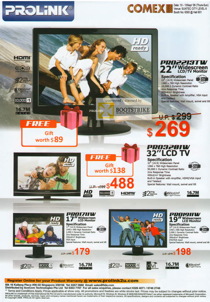 Comex 2009 price list image brochure of Prolink LCD TV Monitor