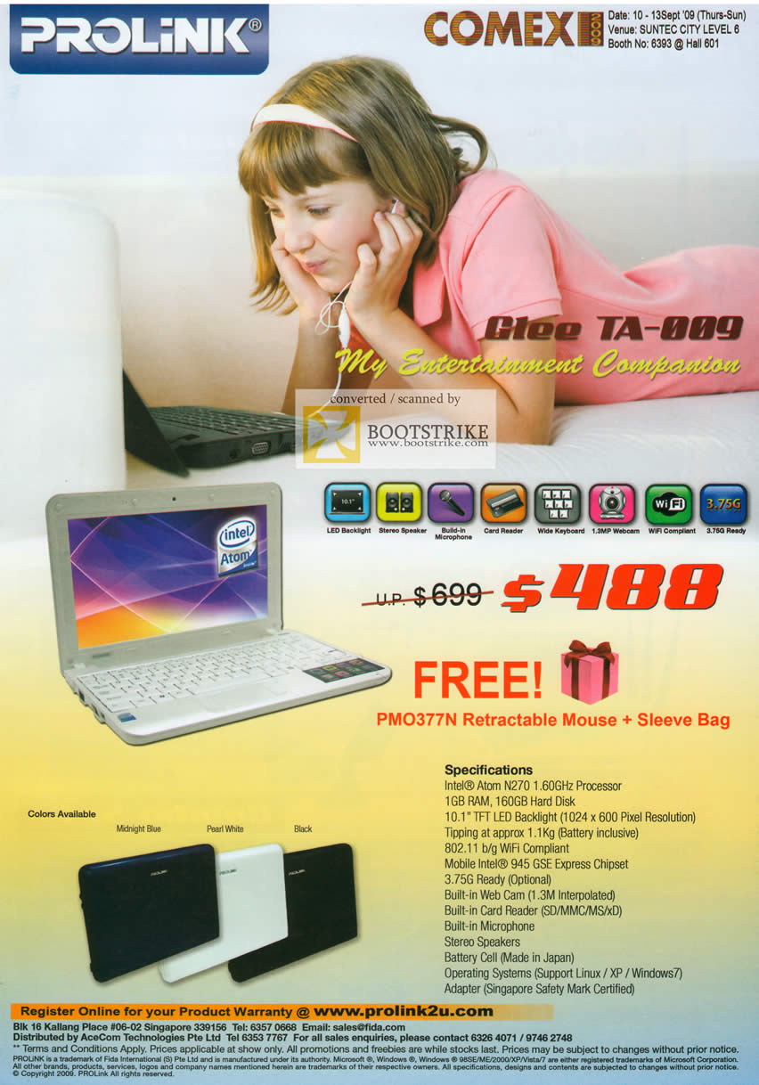 Comex 2009 price list image brochure of Prolink Netbook