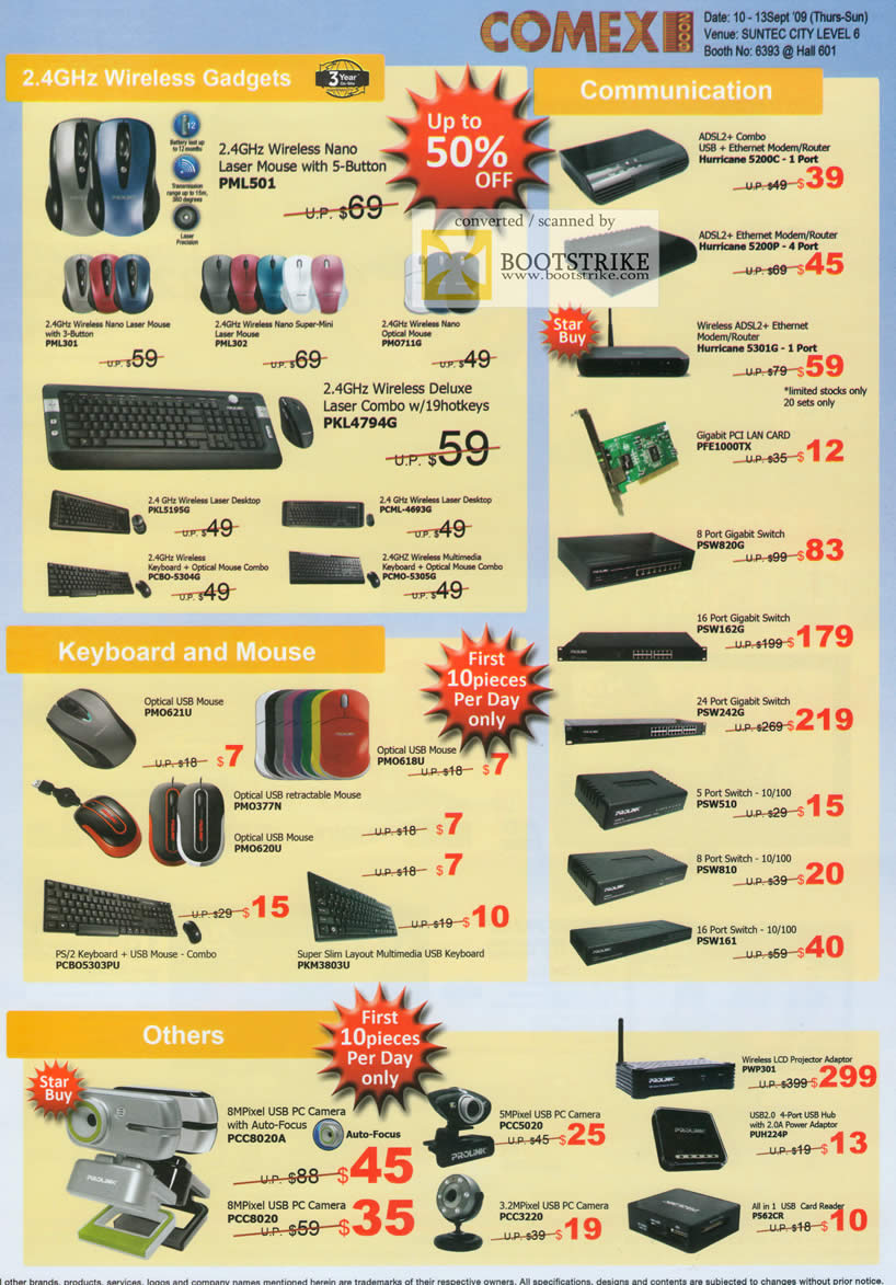 Comex 2009 price list image brochure of Prolink Wireless Gadgets Communication Keyboard Mouse PC Camera Router Switch