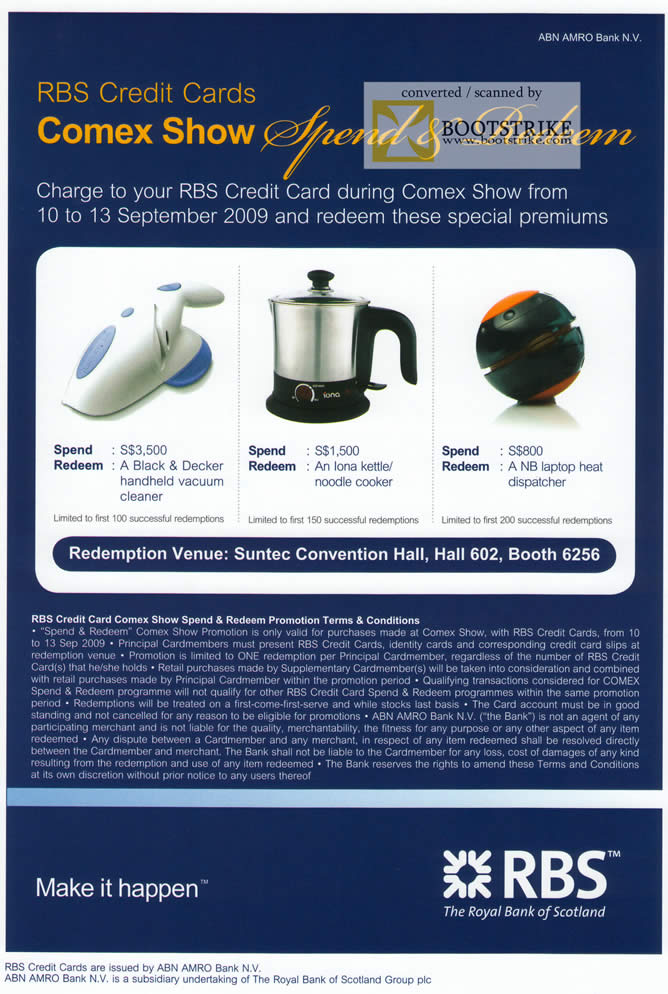 Comex 2009 price list image brochure of RBS Credit Card Redemption Promotions