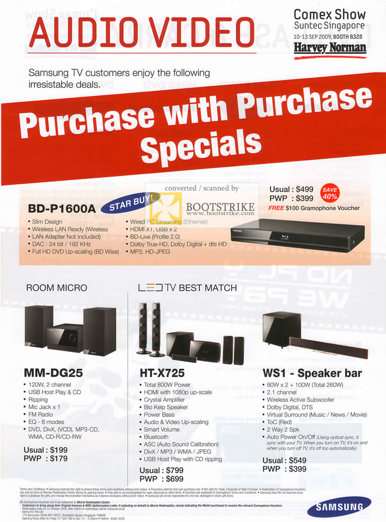 Comex 2009 price list image brochure of Samsung Audio Video Hifi Room Micro