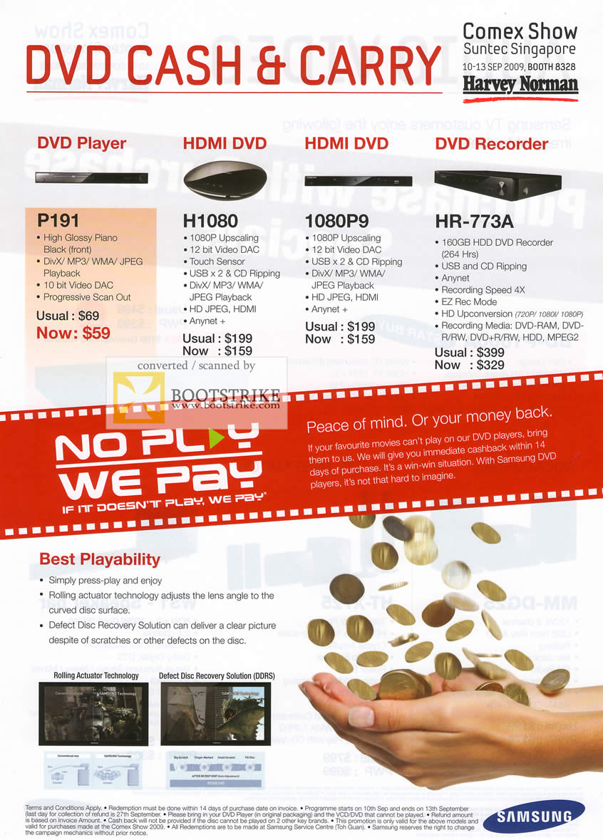 Comex 2009 price list image brochure of Samsung DVD Player HDMI Recorder