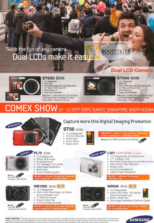 Comex 2009 price list image brochure of Samsung Digital Cameras ST550 ST500 ST50 PL79 L301 WB1000 WB550