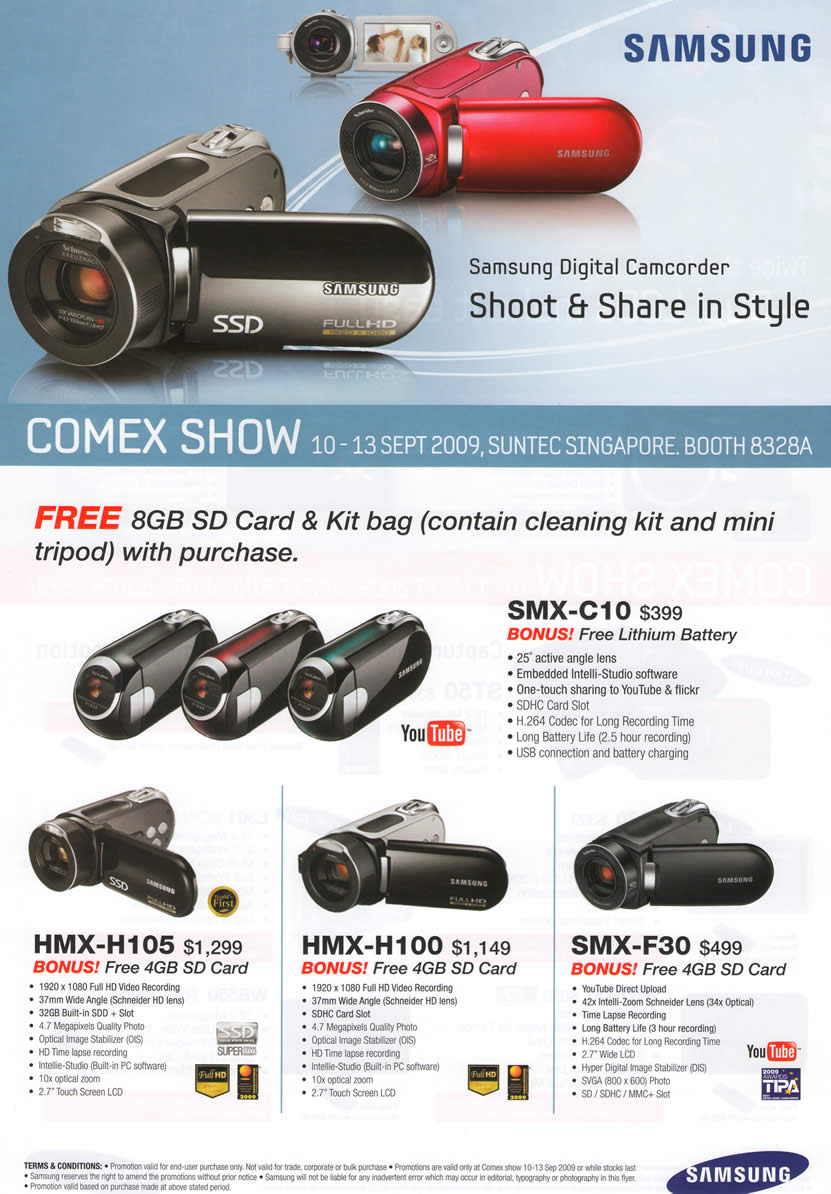 Comex 2009 price list image brochure of Samsung Digital Video Camcorders SMX C10 F30 HMX H105 H100
