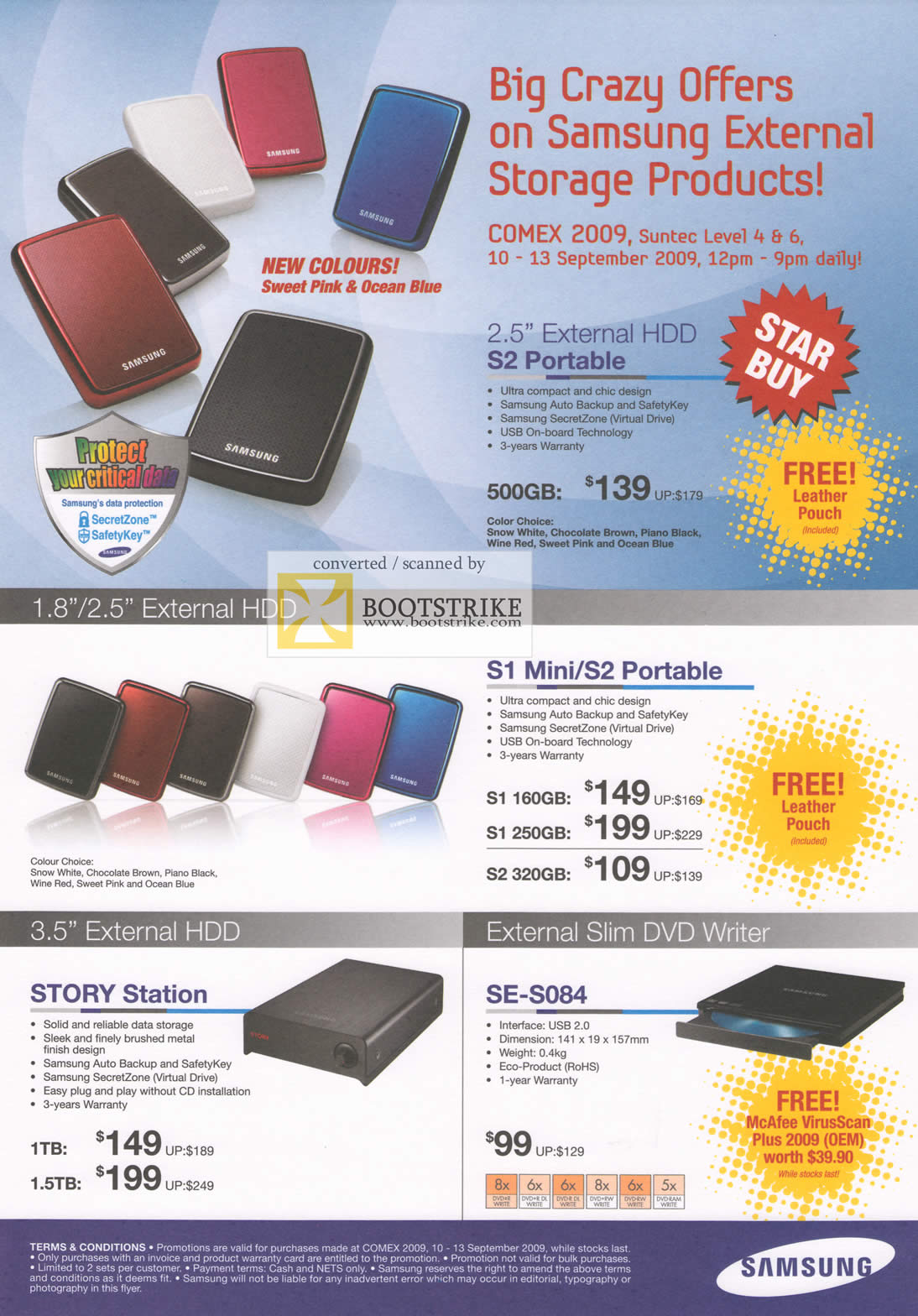 Comex 2009 price list image brochure of Samsung External Storage S2 Portable S1 Mini STORY Station SE S084