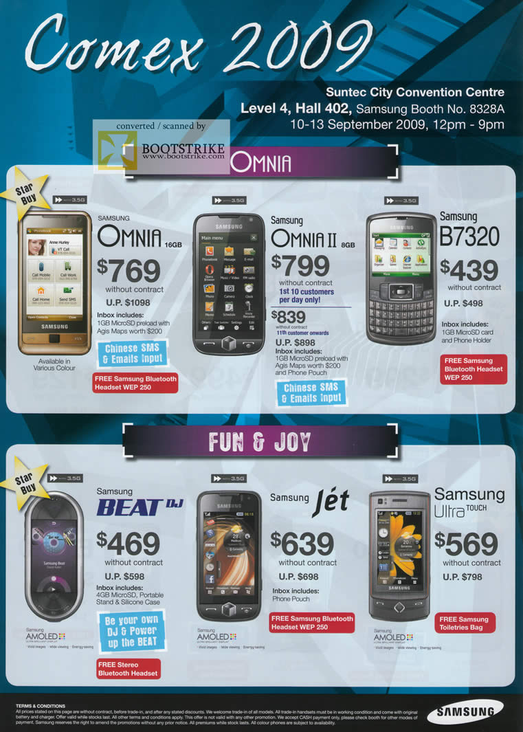 Comex 2009 price list image brochure of Samsung Mobile Phones Omnia II B7320 Beat Jet Ultra