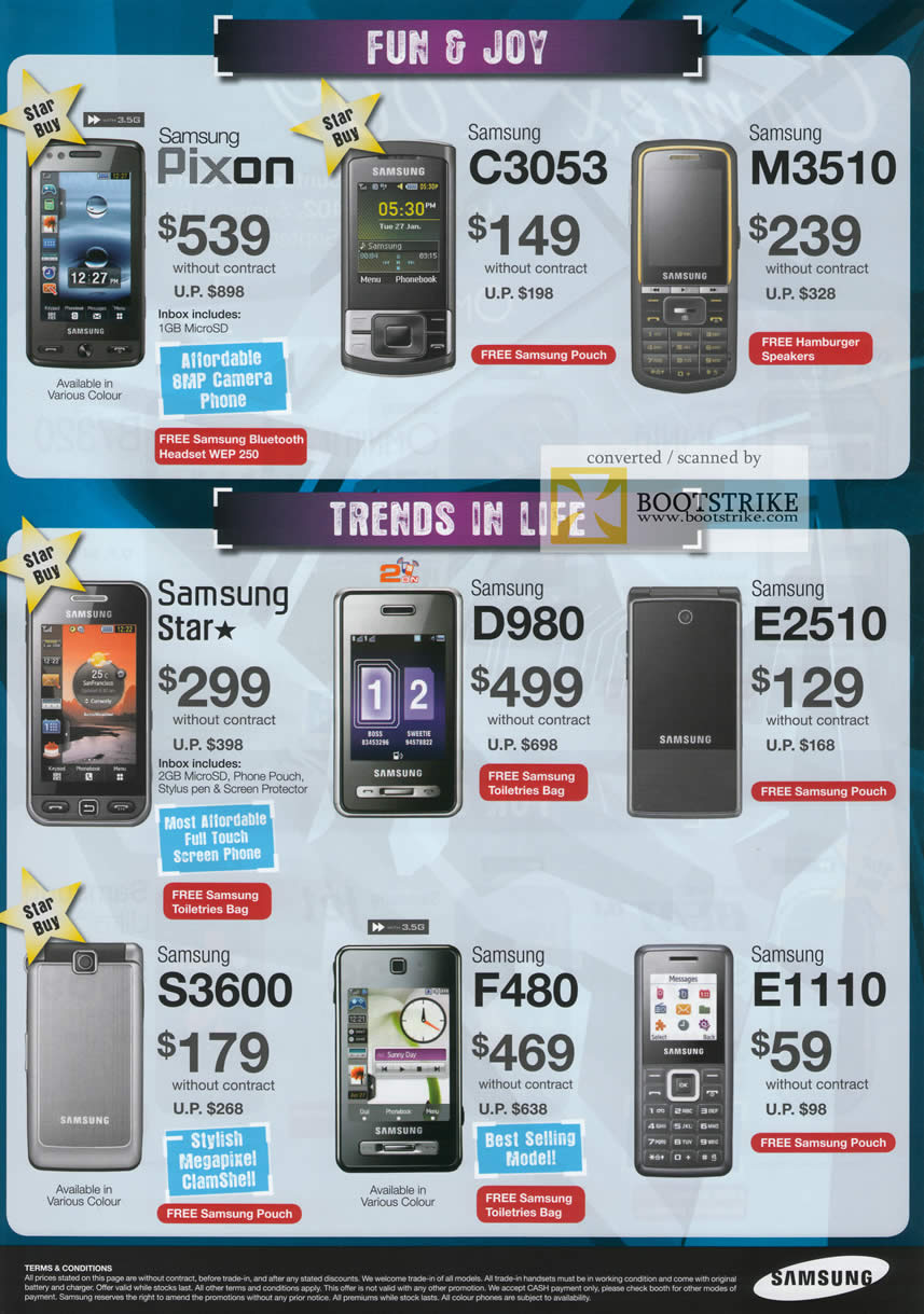 Comex 2009 price list image brochure of Samsung Mobile Phones Pixon C3053 M3510 Star D980 E2510 S3600 F480 E1110