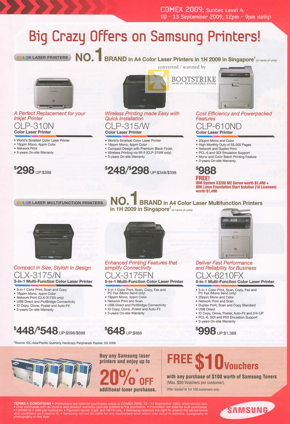 Comex 2009 price list image brochure of Samsung Printers Colour Laser Multi Function CLX CLP