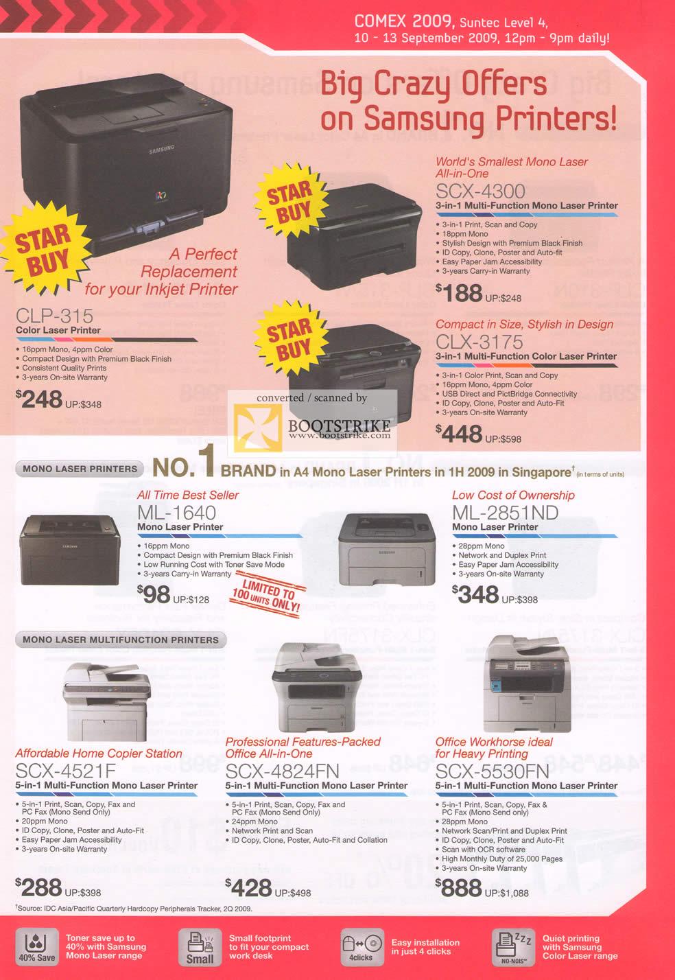 Comex 2009 price list image brochure of Samsung Printers Laser Mono Colour Multi Function SCX CLP CLX ML SCX