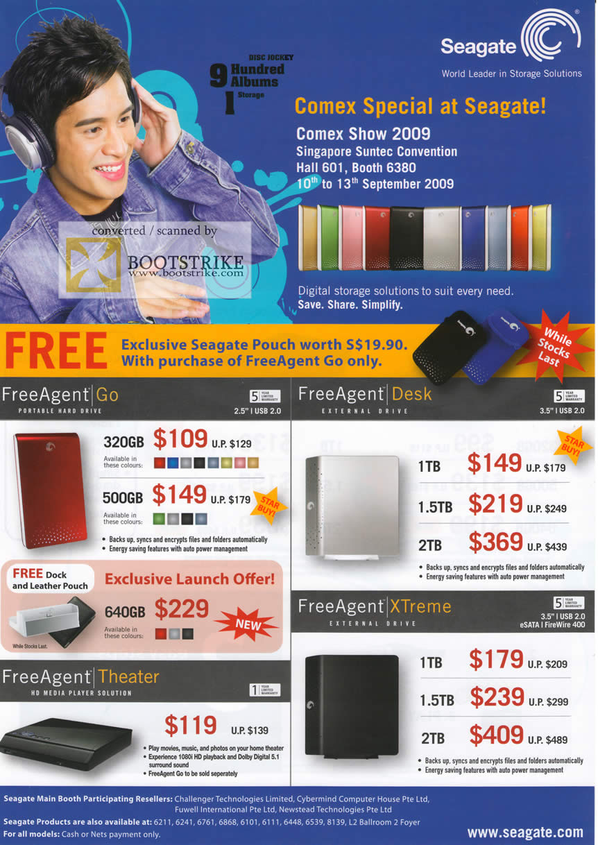 Comex 2009 price list image brochure of Seagate FreeAgent Go Desk Xtreme Theater External Storage